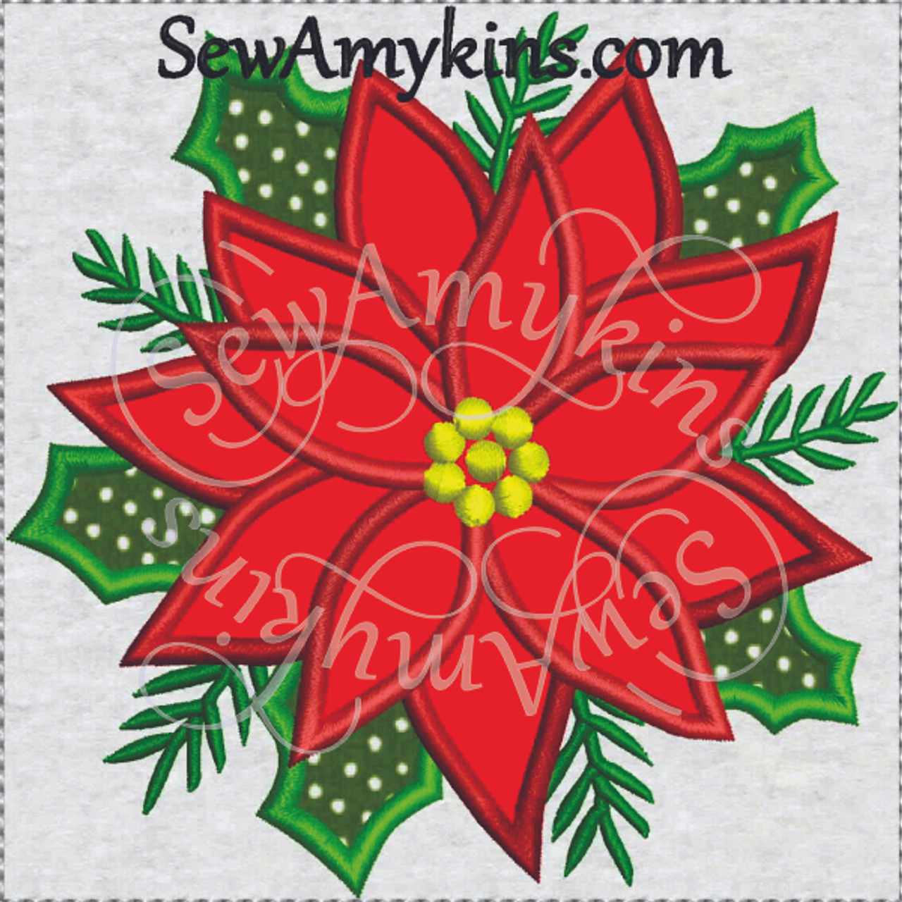 Poinsettia Applique Christmas Flower In 3 Sizes Machine Embroidery