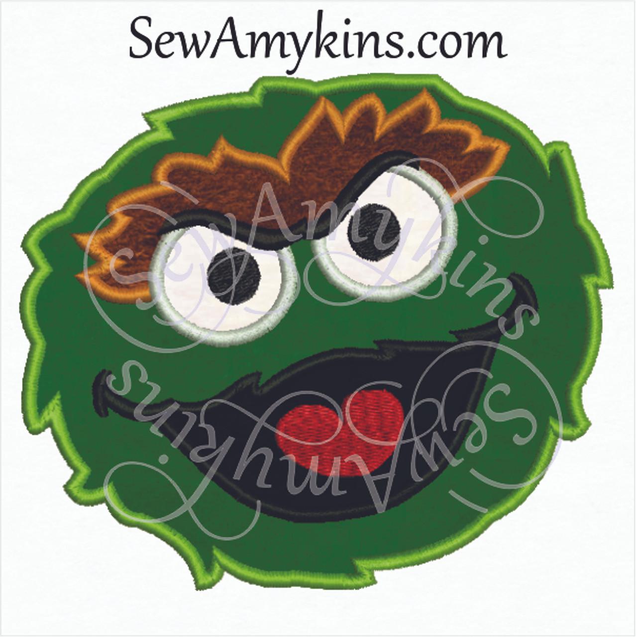 Oscar Grouch Face Applique 2 Sizes Sewamykins
