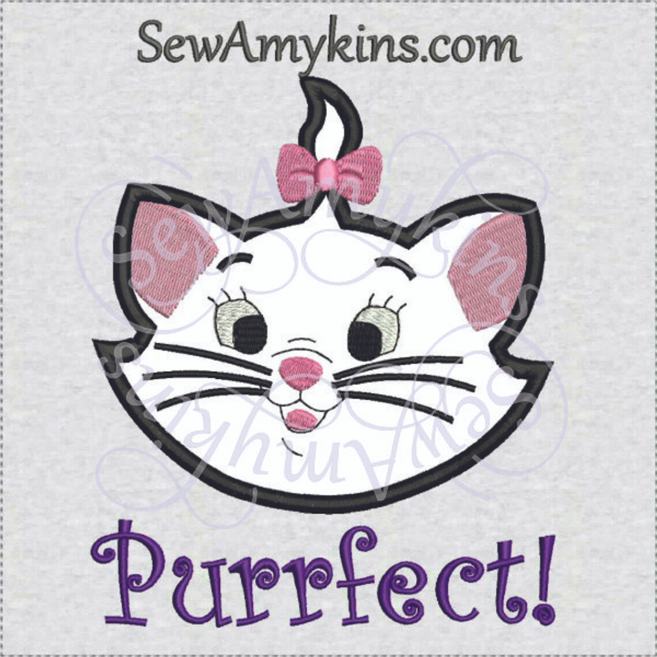 Marie Cat Head Applique Machine Embroidery Design Purrfect 3 Sizes