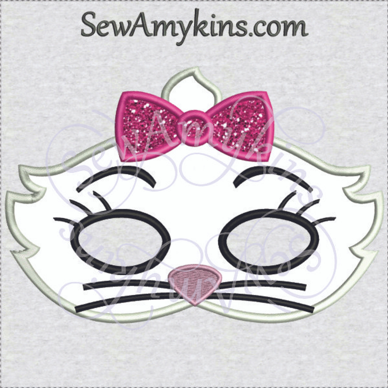 Marie Girl Cat Applique Halloween Mask Machine Embroidery Design