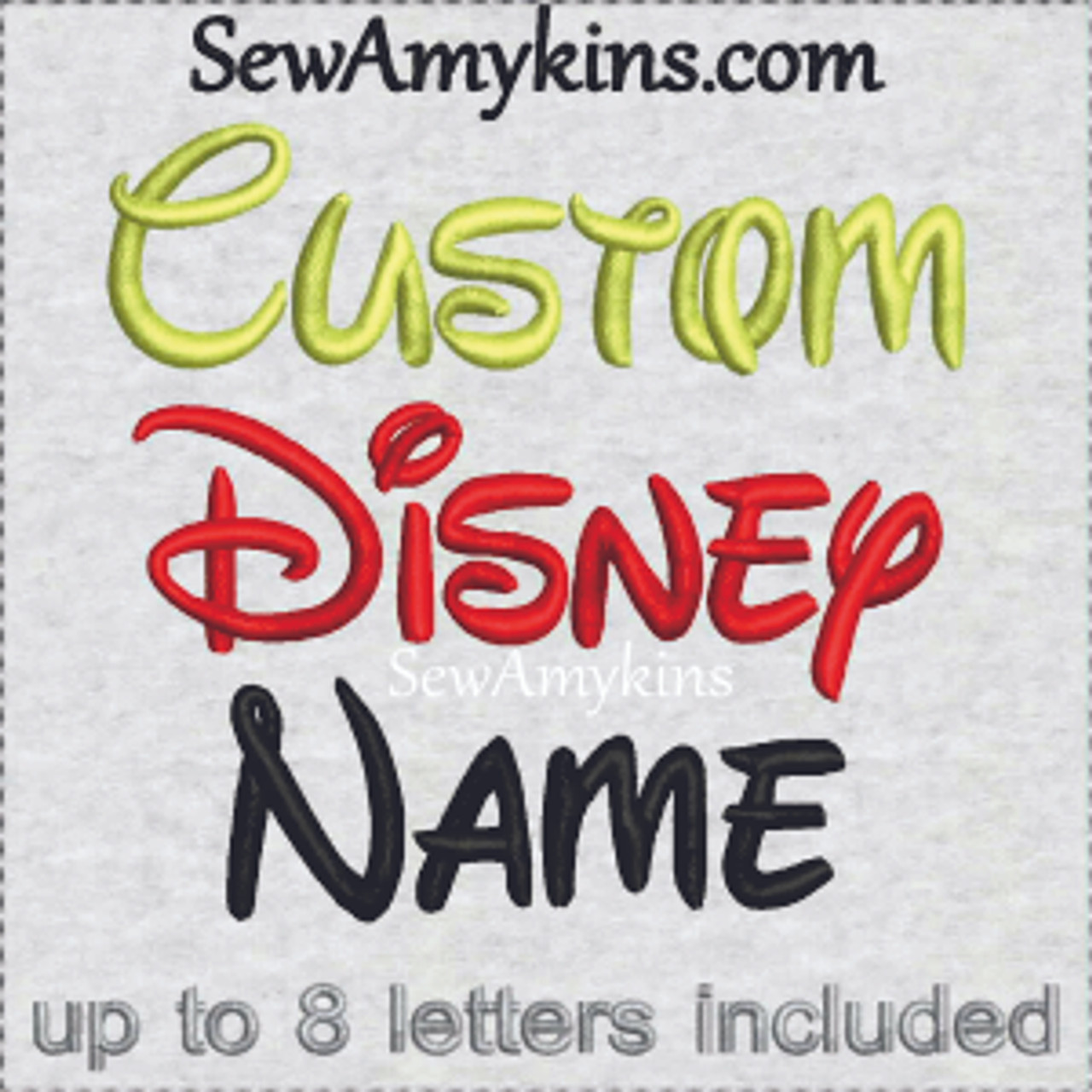 Your Name or Word custom digitized embroidery file Walt Disney font  alphabet letters initials