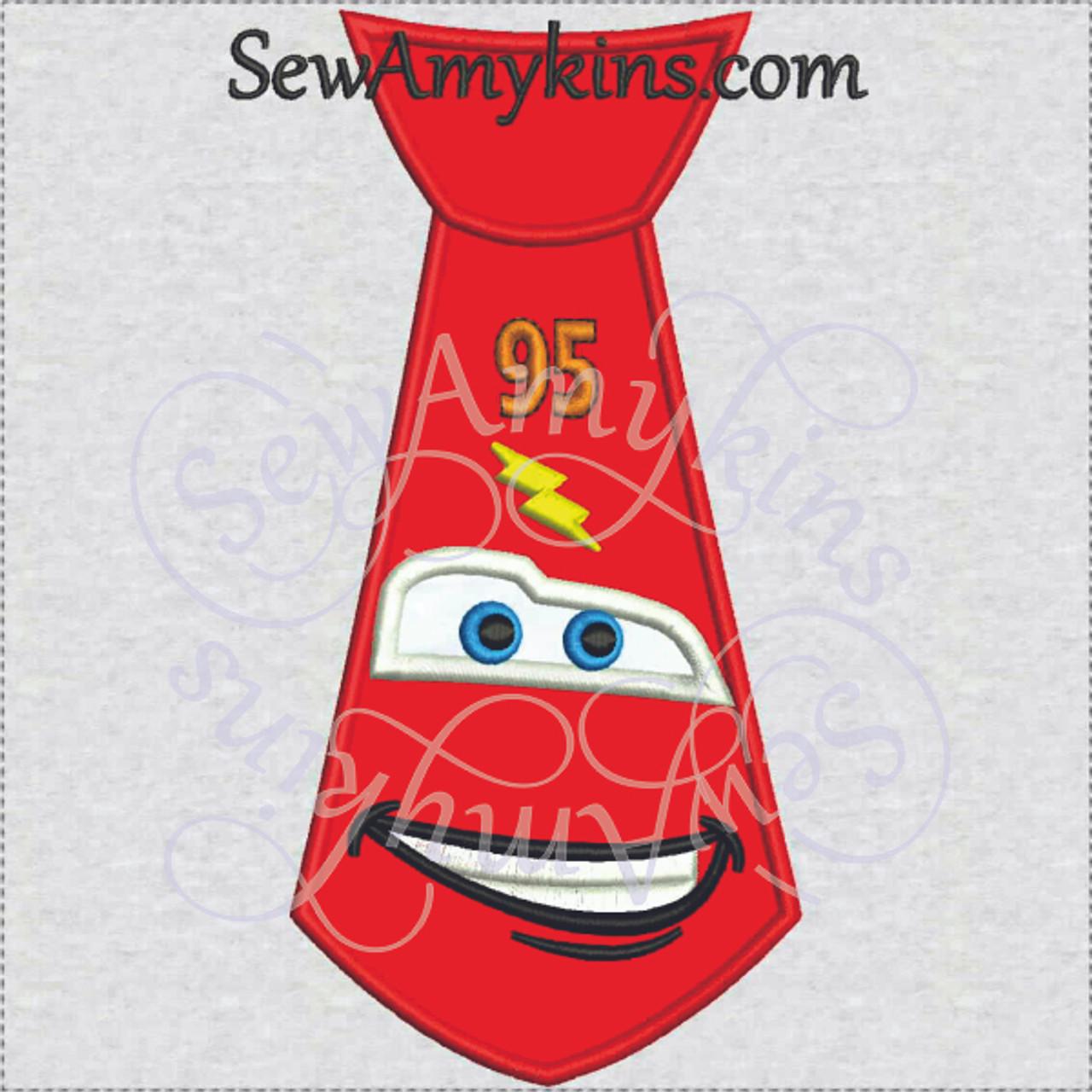 Lightning McQueen Tie Applique Embroidery Design Face Car