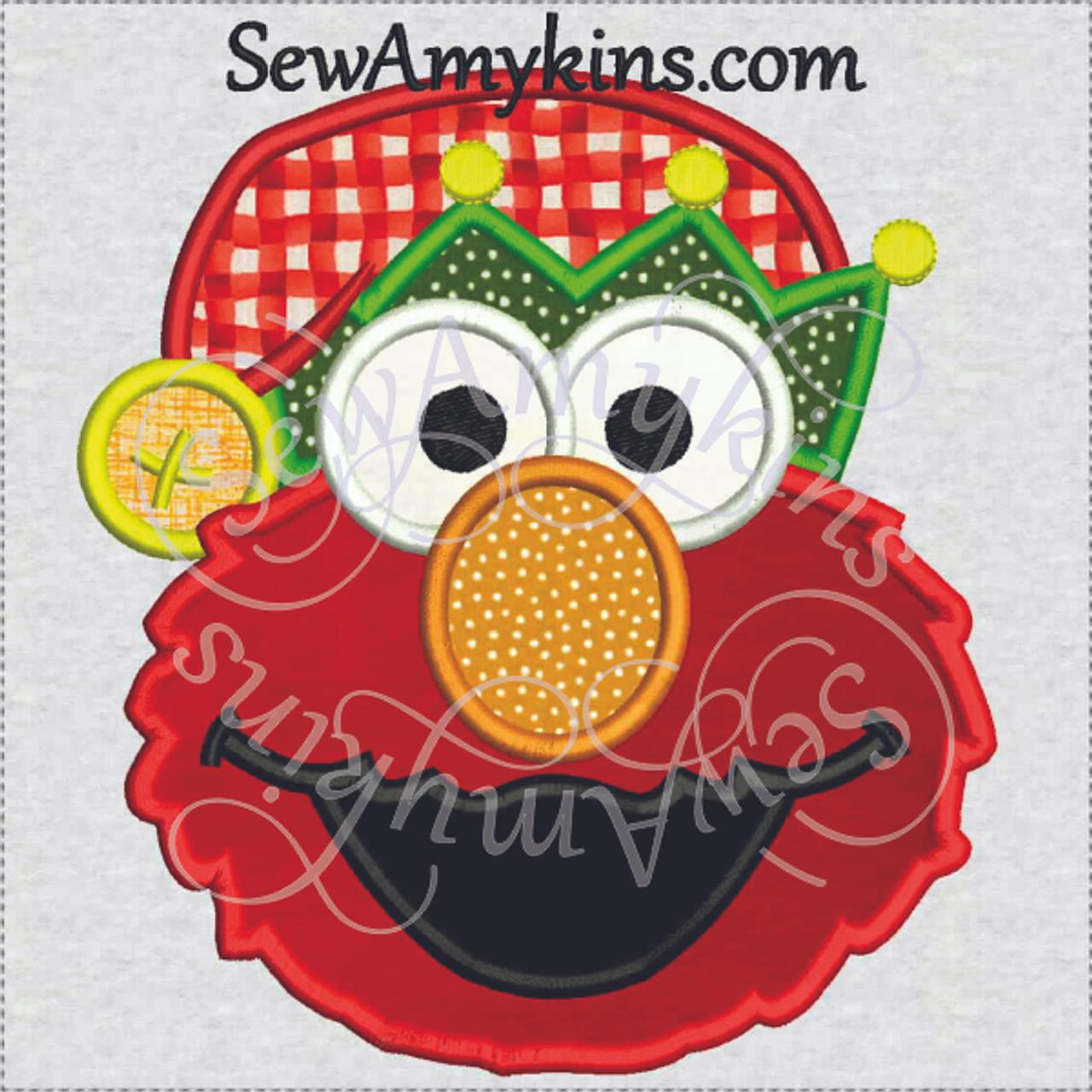 fffcaa299af Elmo Elf applique Christmas helper head Santa hat 3 sizes machine ...