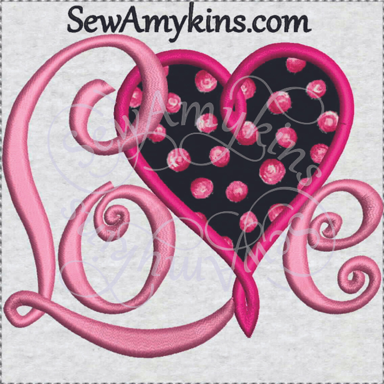 Love Heart Applique Valentine Day Machine Embroidery Design Script