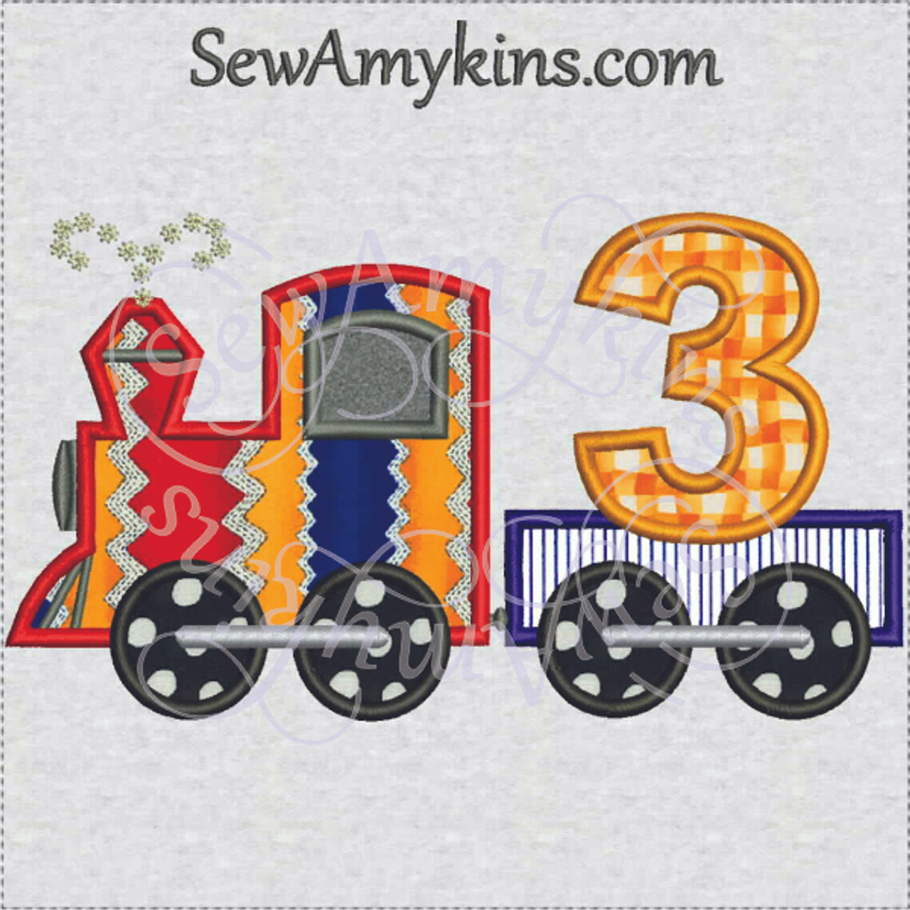 Birthday Train Three Third Applique And Number Embroidery Digitized