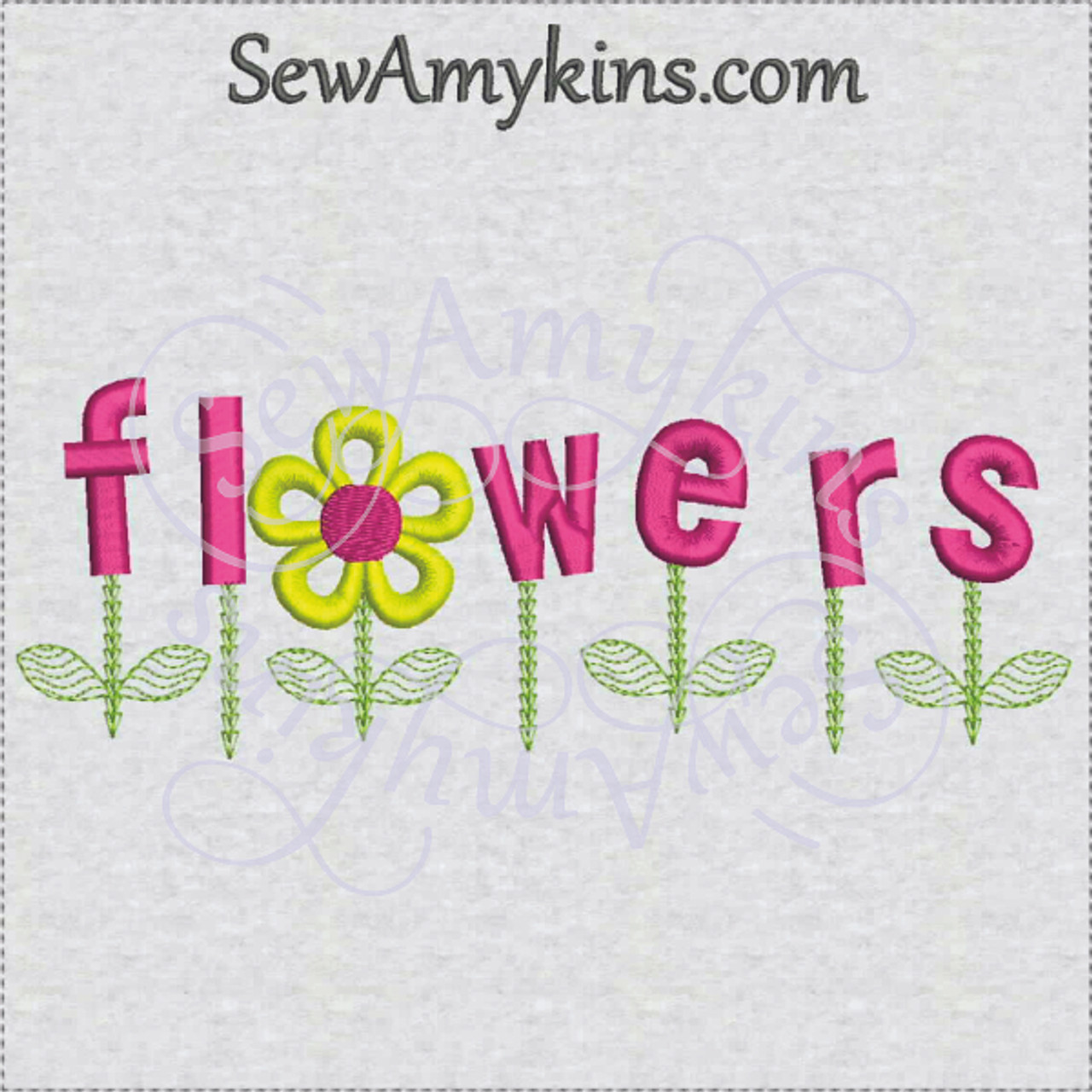 Flower Daisy Word Machine Embroidery Design Stem Leaves 3 Sizes Sewamykins