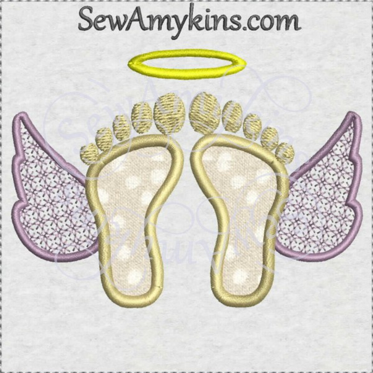 Baby Angel Feet Wings Applique Machine Embroidery Design In Memory