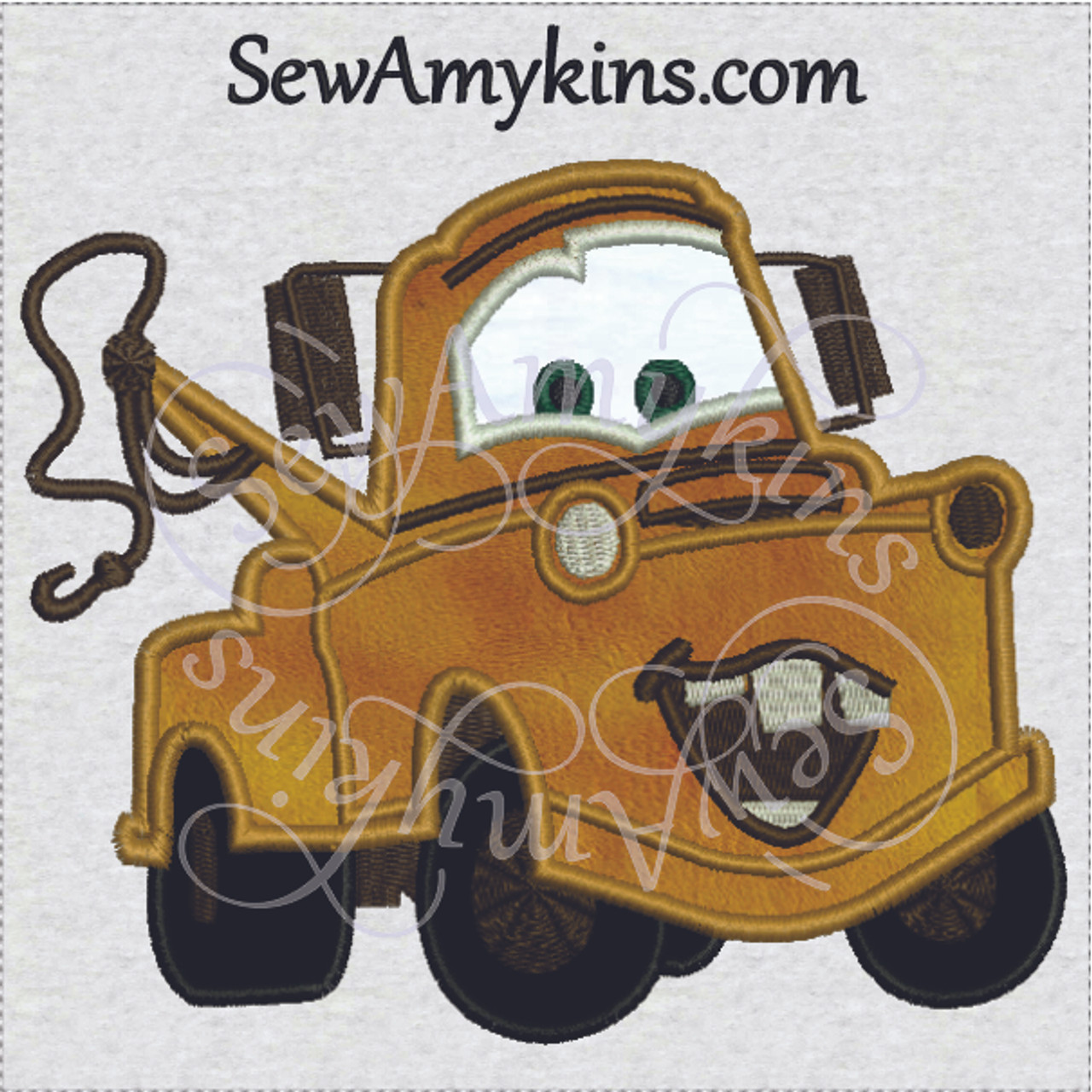 Tow Mater Applique Embroidery Design Cars Movie 2 Sizes Towtruck
