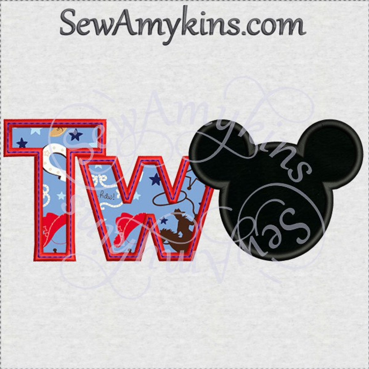 Mickey Mouse Two Letters Tw Head Applique Machine