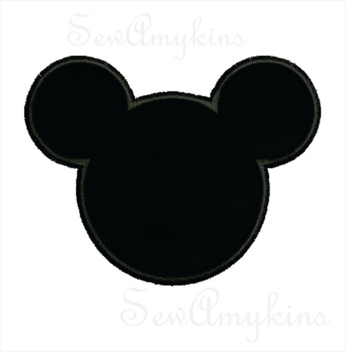 Mickey Mouse applique head machine embroidery design 5 sizes