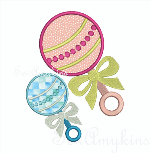Baby Rattle applique for Showers, Bibs, Toys