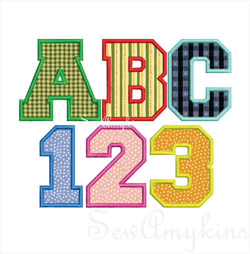 Varsity alphabet applique machine embroidery 2 sizes letters initials