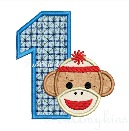 Sock Monkey Boy Birthday Number set 0-9 applique machine embroidery design numbers one two