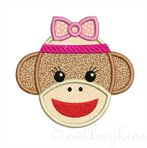 Girl Sock Monkey applique machine embroidery design 3 sizes
