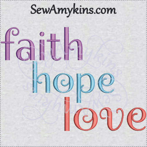 faith hope love inspirational embroidery design words