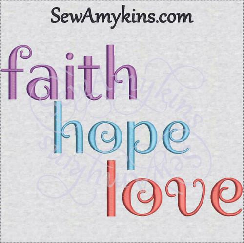 faith hope love inspirational embroidery design words