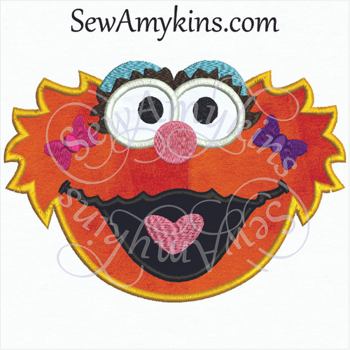 Zoe face applique embroidery design