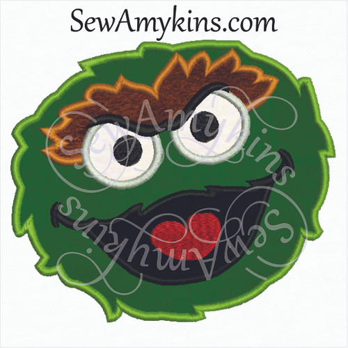 Oscar grouch face applique embroidery design