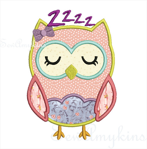 Girl sleepy Owl applique v3