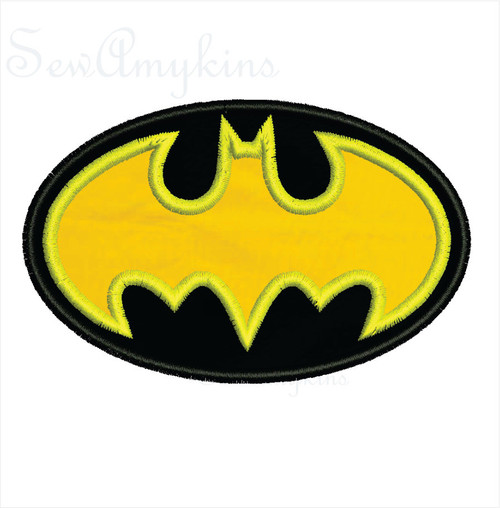 Batman applique embroidery design
