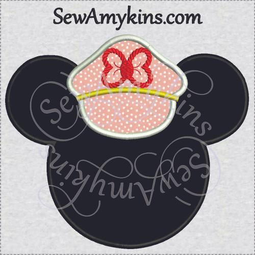 Minnie Mouse captain applique cruise ship line head hat
