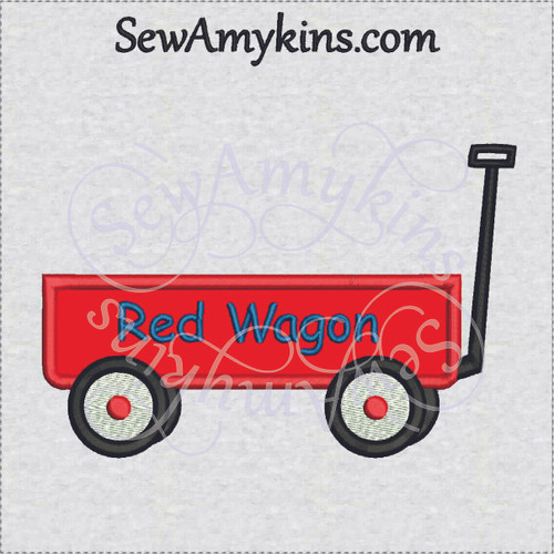 little red wagon applique machine embroidery design