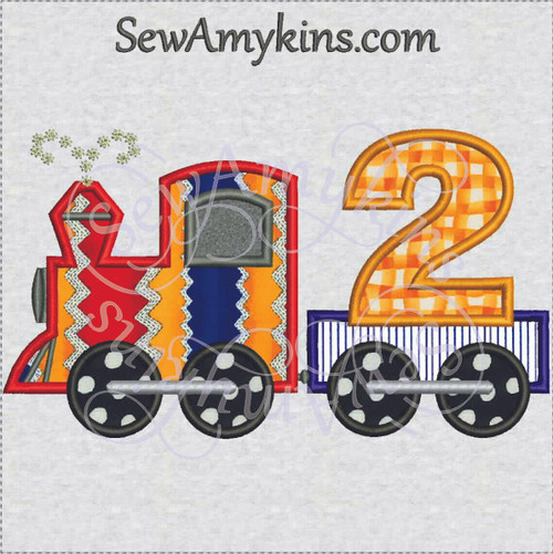 birthday train 2nd second applique embroidery design 2 engine boy