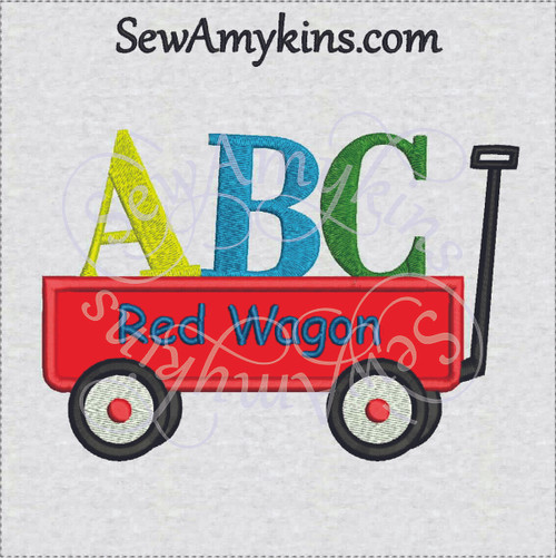 school wagon applique A B C little red machine embroidery design