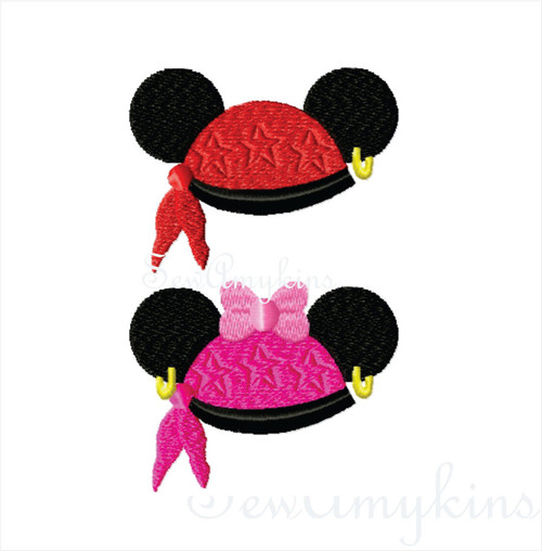 Mickey Minnie Mouse Pirate hat No Skull