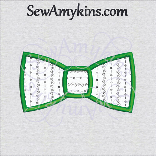 bow tie applique 2 step fabrics machine embroidery design bowtie