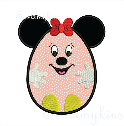 Minnie mouse Easter egg ears hands feet applique machine embroidery 2 sizes