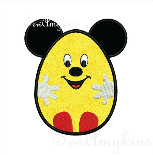 Mickey mouse Easter egg ears hands feet applique machine embroidery 2 sizes