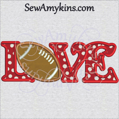 football love letters word applique embroidery design
