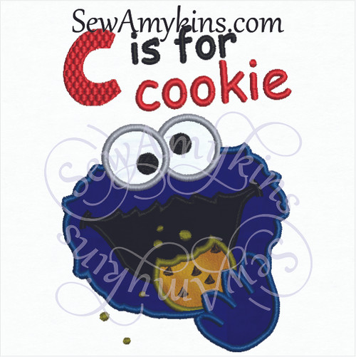 C is for cookie monster face eating a cookie