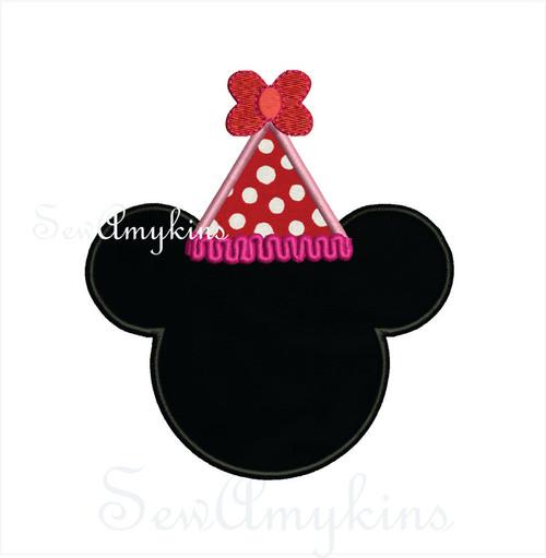 Minnie Mouse Birthday Hat applique