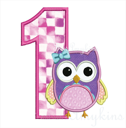 Girl Owl Birthday Number applique machine embroidery set numbers 0-9