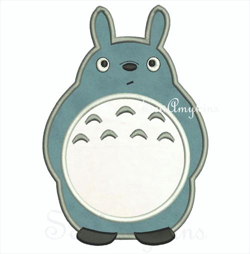 Totoro applique embroidery design