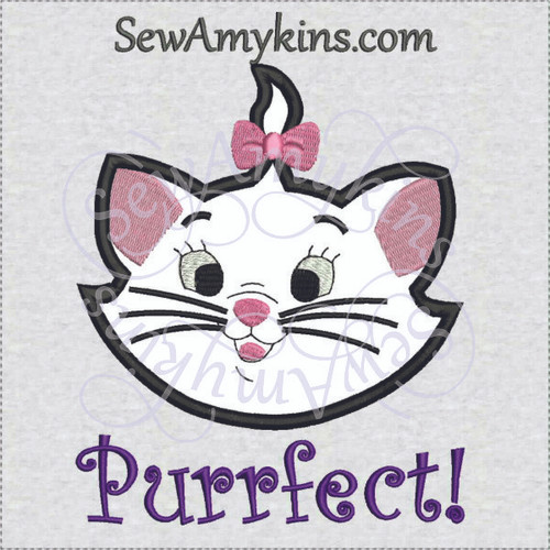 Marie face girl cat Aristocats Purrfect applique machine embroidery design