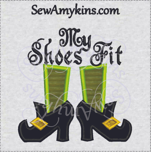 My Shoes Fit witch shoe applique halloween embroidery