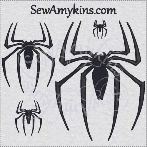 spider machine embroidery design set of 4 sizes great for spiderman halloween costume