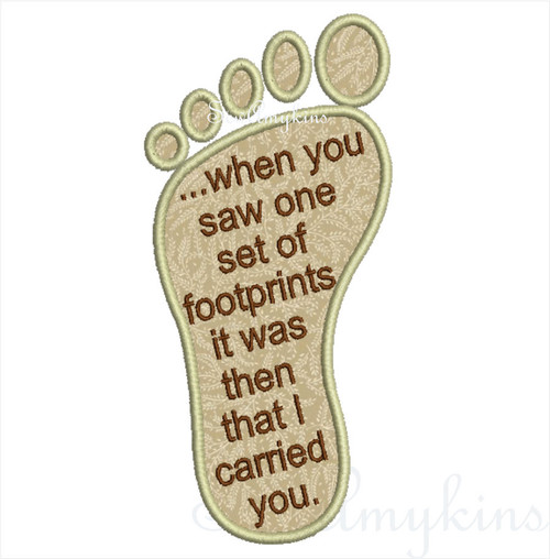Footprints in the Sand applique Saying