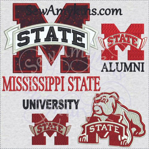 MSU applique embroidery design Mississippi state MS fill stitch alumni