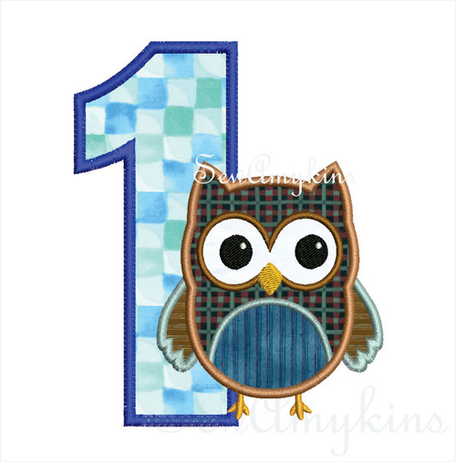 Birthday Boy Owl Numbers applique machine embroidery set