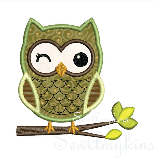Boy Owl on tree branch applique machine embroidery design