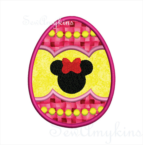 Minnie Easter Egg applique machine embroidery 3 sizes mouse silhouette