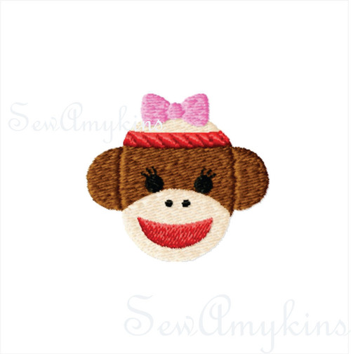 GIRL Sock Monkey mini fill stitch machine embroidery design