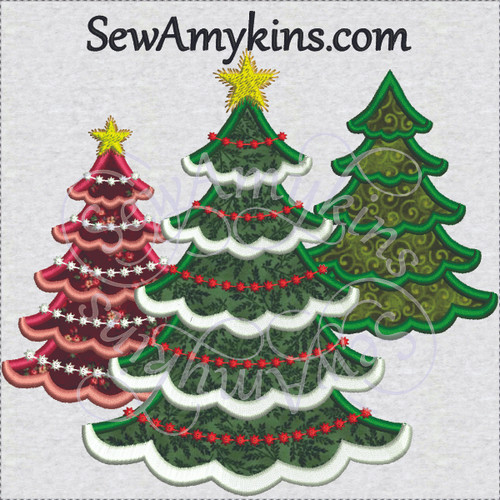 Christmas tree applique scallop edges winter snow star embroidery design