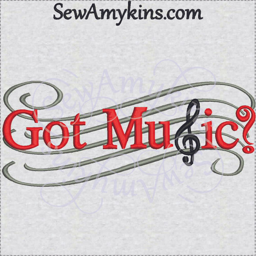 got music staff embroidery design love music
