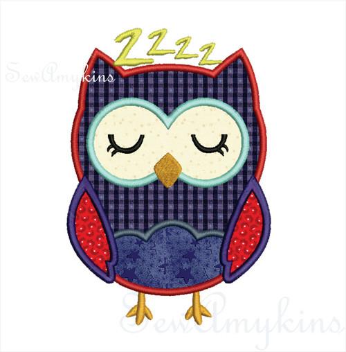 boy sleepy owl applique machine embroidery design sleeping