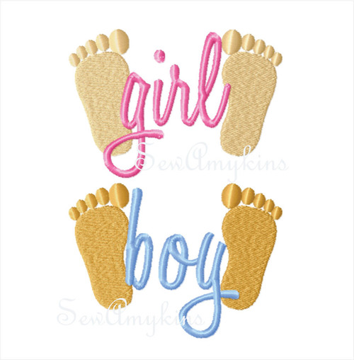 Baby Footprints say Girl or Boy word machine embroidery design